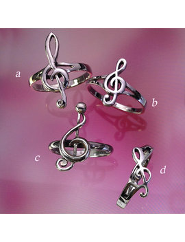 925 Solid Sterling Silver Music Note Ring/Treble Clef Earrings/Music Lover Jewelry/High Polish/Oxidized by Etsy