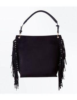 Black Suedette Fringe Side Hobo Bag by New Look