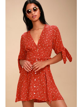 Birgit Coral Red Floral Print Tie Sleeve Dress by Faithfull The Brand