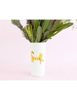 Nimerah Tiger Big Vase   Orange Stripe Big Cat Ceramic Tumbler by Etsy