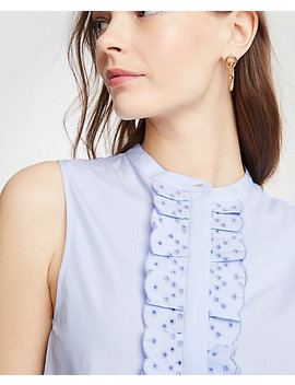 Eyelet Ruffle Cotton Shell by Ann Taylor