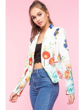 Butterfly Border Print Blazer by A'gaci