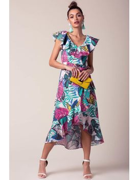 Teagan Tropical Wrap Dress by A'gaci