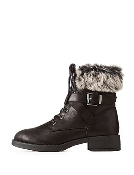 Faux Fur Trim Buckled Combat Boots by Charlotte Russe