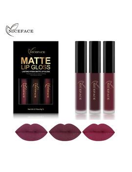 Niceface 3 Pcs Liquid Lipstick Set Long Lasting Matte Lip Stick Make Up Waterproof Velvet Batom Nude Sexy Lip Gloss Cosmetics Kit by Ucanbe Comestics Store