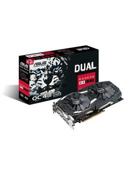 Asus Radeon Rx 580 8 Gb Dual Fan Oc Edition Gddr5 Dp Hdmi Dvi Vr Ready Amd Graphics Card (Dual Rx580 O8 G) by Asus
