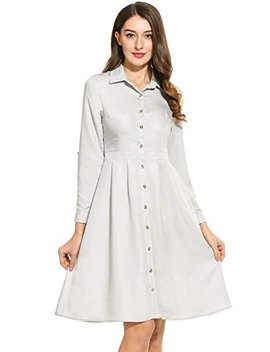 Angvns Women's Long Sleeve Button Down A Line Flair Casual Denim Dress Skater Dress by Angvns