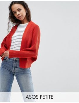 Asos Design Petite Eco Chunky Cardigan With Volume Sleeve by Asos Collection