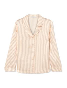 Crema Striped Silk Seersucker Pajama Top by Eres
