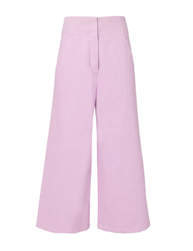 Twill Wide Leg Cropped Jeans by Tibi