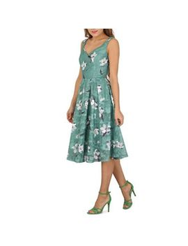 Jolie Moi   Dark Green Floral Print Lace Prom Dress by Jolie Moi