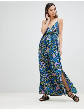 Asos Pansy Print Wrap Plunge Maxi Beach Dress by Asos Collection