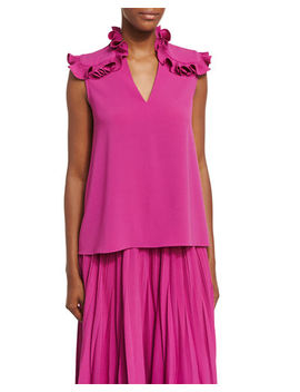 Ruffle Shoulder Crepe Top by Co