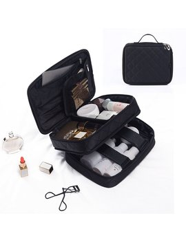 Portable Big Makeup Bag,Wuhua Storage/Toiletry Bag,Multifunction Professional Train Case For Cosmetic Case,Jewelry Organizer Pouch Travel Brushes With Box by Wuhua