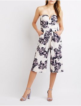 Notched Floral Strapless Jumpsuit by Charlotte Russe