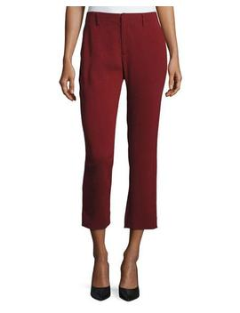 Crepe Cigarette Pants, Dark Red by Co