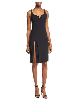 Sleeveless Sweetheart Petal Detail Dress, Black by Neiman Marcus