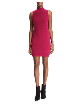 Mock Neck Sleeveless Minidress, Raspberry by Neiman Marcus