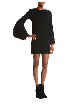 Petal Sleeve Crepe Cocktail Minidress, Black by Brandon Maxwell