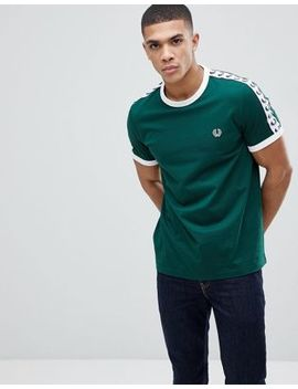 Fred Perry Sports Authentic Taped T Shirt In Green by Fred Perry