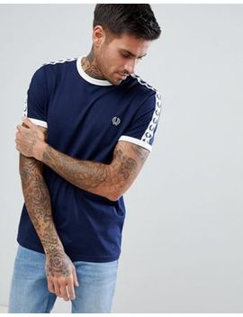 Fred Perry Sports Authentic Taped T Shirt In Navy by Fred Perry