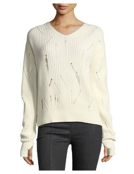 V Neck Drop Needle Wool Sweater by Helmut Lang
