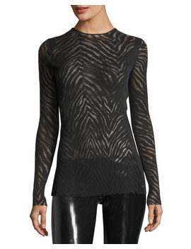 Zebra Mesh Pullover Top by Helmut Lang