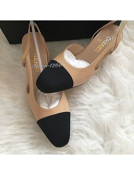 Nib Chanel Two Tone Beige Black Leather Slingbacks Shoes Pump Size 37 by Chanel