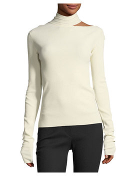Tieback High Neck Long Sleeve Sweater by Helmut Lang