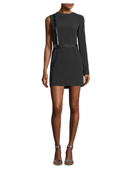 Harness One Sleeve Crepe Mini Dress by Helmut Lang