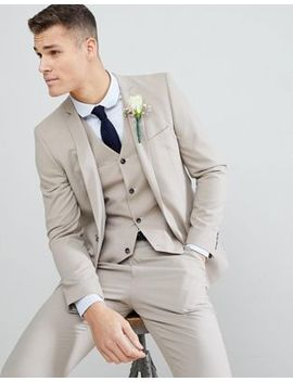 Asos Wedding Slim Suit Jacket In Putty by Asos