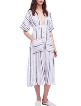 Monday Stripe Linen Blend Midi Dress by Free People
