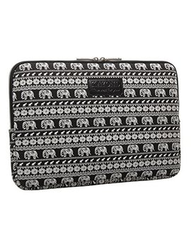 Kayond Black Elephant Patterns Canvas Fabric 14 Inch Laptop /Sleeve Case Dell / Hp /Lenovo/Sony/ Toshiba / Ausa / Acer /Samsung /Haier Ultrabook Bag Cover (14.1, Black) by Kayond