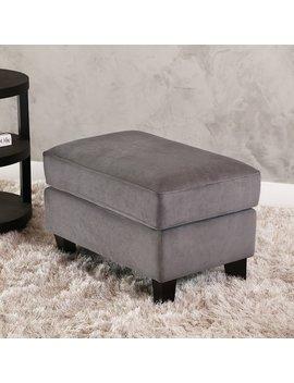 Abbyson Claridge Dark Grey Velvet Fabric Ottoman by Abbyson