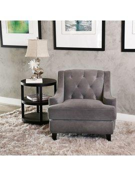 Abbyson Claridge Grey Velvet Tufted Armchair by Abbyson