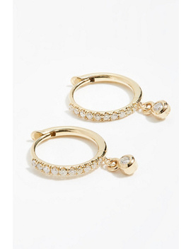 14k Dangling Diamond Huggie Hoops by Free People