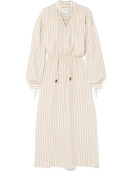Tala Striped Cotton And Linen Blend Midi Dress by Nanushka