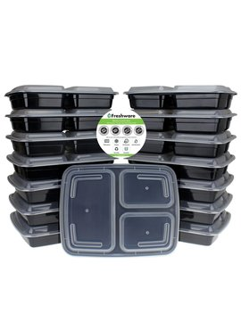 Freshware Meal Prep Containers [15 Pack] 3 Compartment With Lids, Food Containers, Lunch Box | Bpa Free | Stackable | Bento Box, Microwave/Dishwasher/Freezer Safe, Portion Control, 21 Day Fix (32 Oz) by Freshware