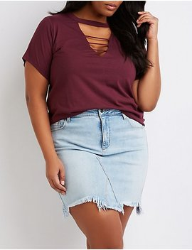 Plus Size Caged Boyfriend Tee by Charlotte Russe