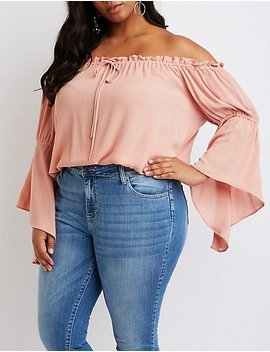 Plus Size Ruffle Trim Off The Shoulder Bell Sleeve Top by Charlotte Russe