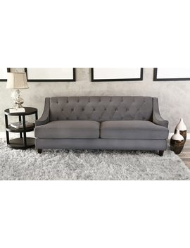 Abbyson Claridge Dark Grey Velvet Fabric Tufted Sofa by Abbyson