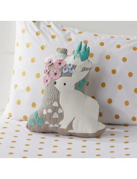 Folktale Forest Rabbit Throw Pillow by Crate&Barrel