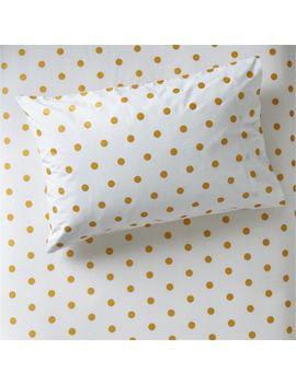 Organic Gold Polka Dot Pillowcase by Crate&Barrel