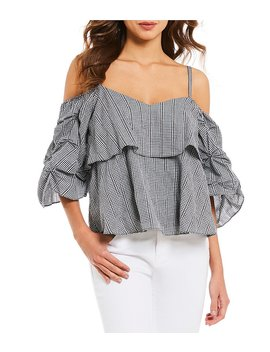 Jenna Ruffle Cold Shoulder Gathered Sleeve Blouse by Gianni Bini