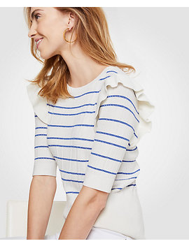 Stripe Ruffle Shoulder Sweater by Ann Taylor