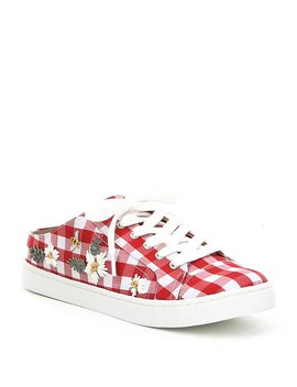 Edna Floral Gingham Fabric Slip On Sneakers by Betsey Johnson