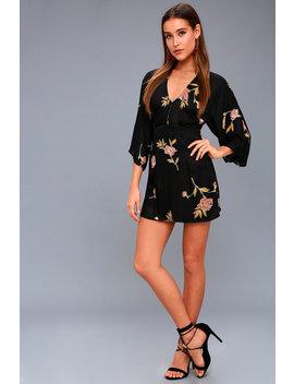 Wayfair Black Floral Print Long Sleeve Dress by Amuse Society
