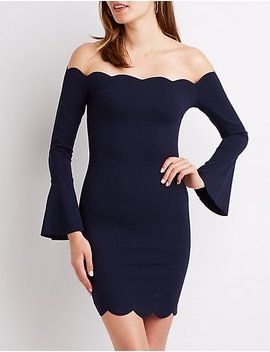 Off The Shoulder Scallop Bodycon Dress by Charlotte Russe