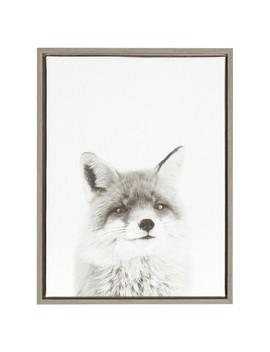 "Fox Framed Canvas Art Gray (24""X18"")   Uniek by Uniek"