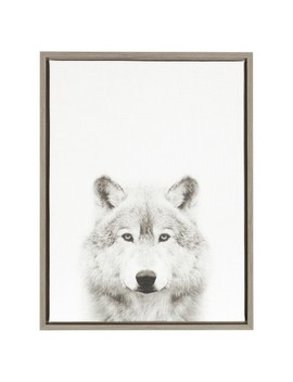 "Wolf Framed Canvas Art Gray (24""X18"")   Uniek by Uniek"